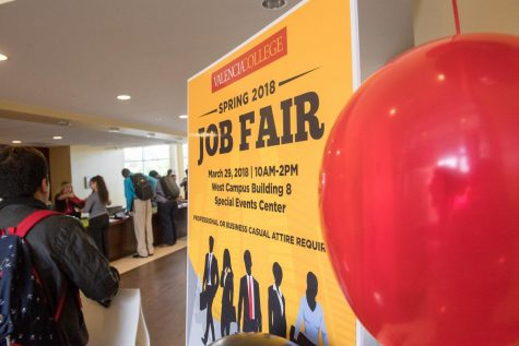 Students attend the annual Job Fair in the Special Events Center on the West campus on March 29, 2018 in Orlando, Florida.
