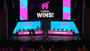 The Florida Mayhem after their series win versus the Houston Outlaws before matches were moved online due to COVID-19. Photo from VOD of the matches.
