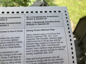 Amendment 2 shown on an Orange County mail-in ballot above which has begun being sent out.