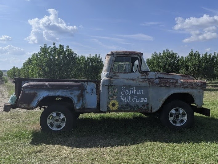 Southern Hill Farms' truck is one of the favorite photo spots for guests.