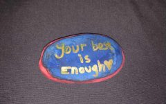 Rock painted by student Trinity Tresner
