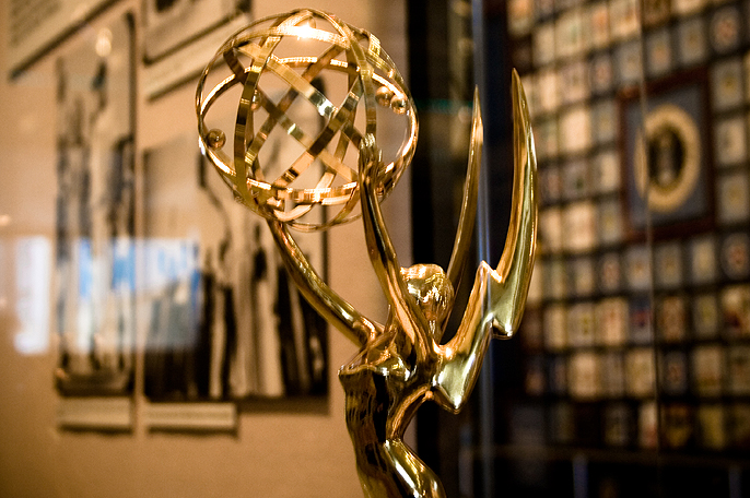 Emmy Awards statue in case