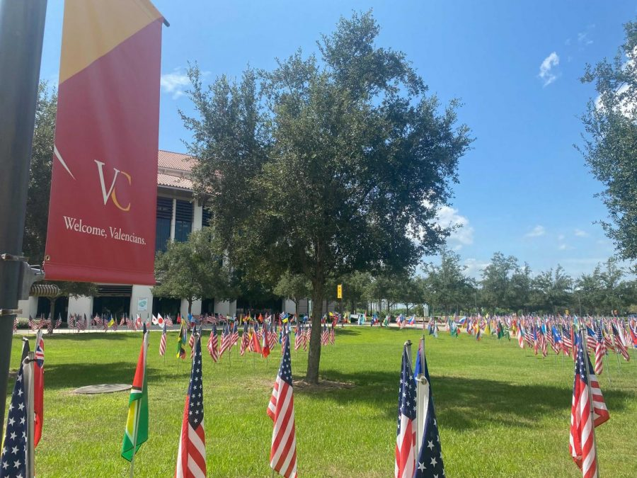 9/11 Flag display at the Valencia Osceola Campus in honor of almost 3000 lives lost.